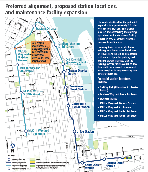 Where will the new Tacoma Link Light rail stops be?